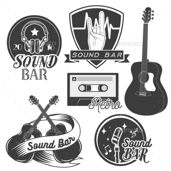 Set of Sound Recording Studio Labels - Miscellaneous Vectors
