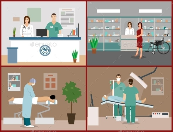 Banners Set with Patients and Doctors - Health/Medicine Conceptual