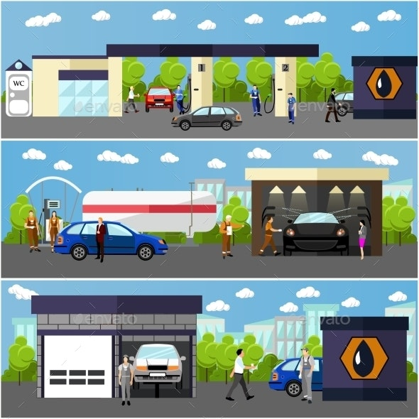 Gas Station, Car Wash and Repair Shop Concept - Buildings Objects