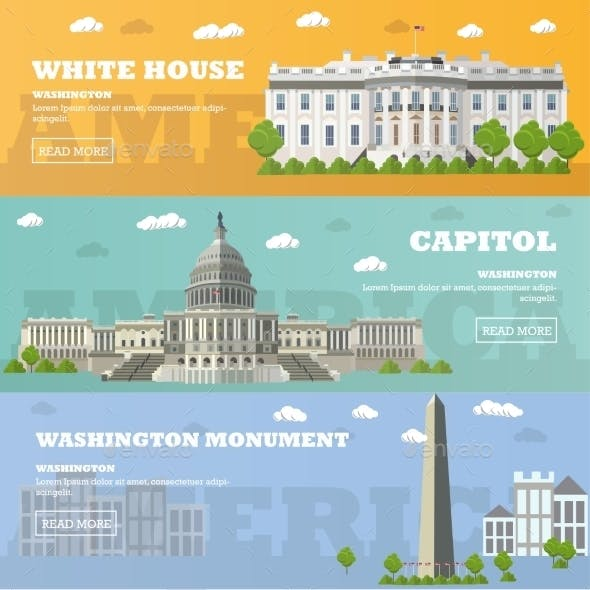 Washington DC Tourist Landmark Banners