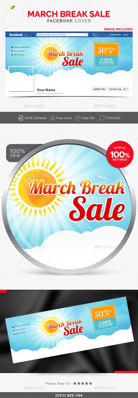 March Break Sale Facebook Cover - Facebook Timeline Covers Social Media