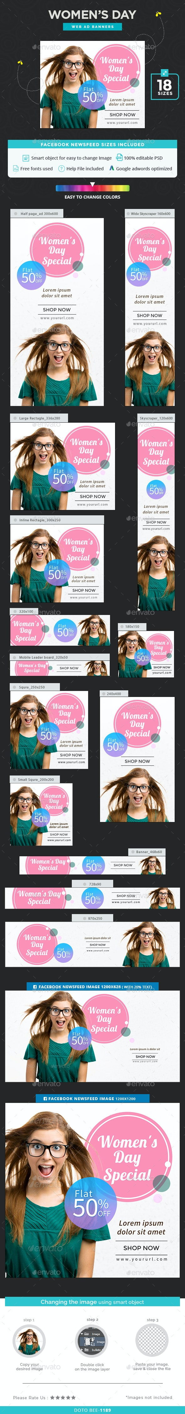 Women's Day Banners - Banners & Ads Web Elements