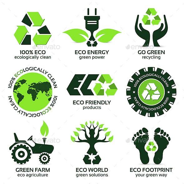 Eco Label and Symbol Set
