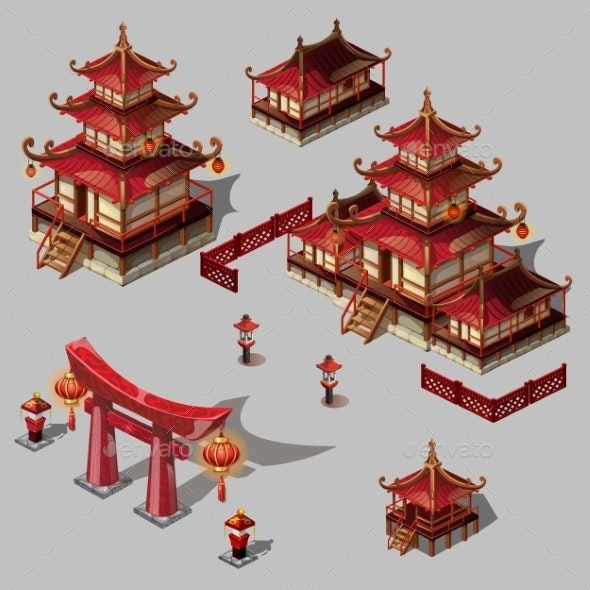 Houses in Japanese Style Set - Buildings Objects