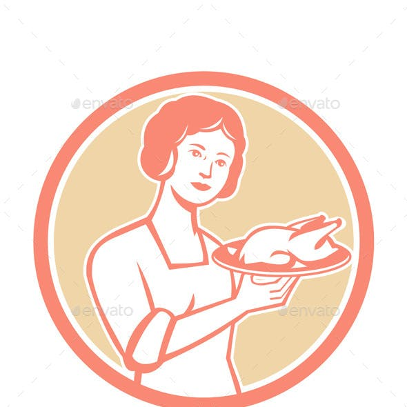 Housewife Serving Chicken Roast Circle Retro