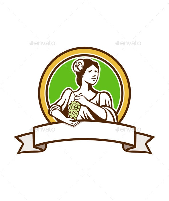 Vintage Lady Holding Grapes Circle Retro - People Characters