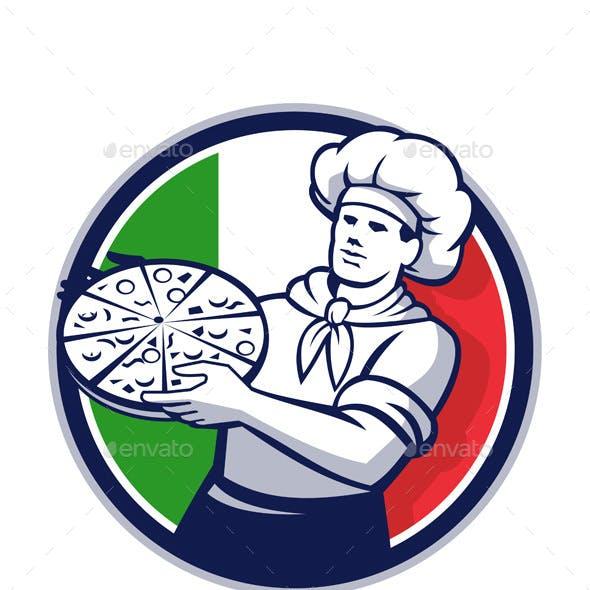 Pizza Chef Holding Pizza Italy Flag Retro Circle