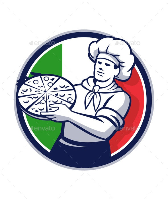Pizza Chef Holding Pizza Italy Flag Retro Circle - People Characters
