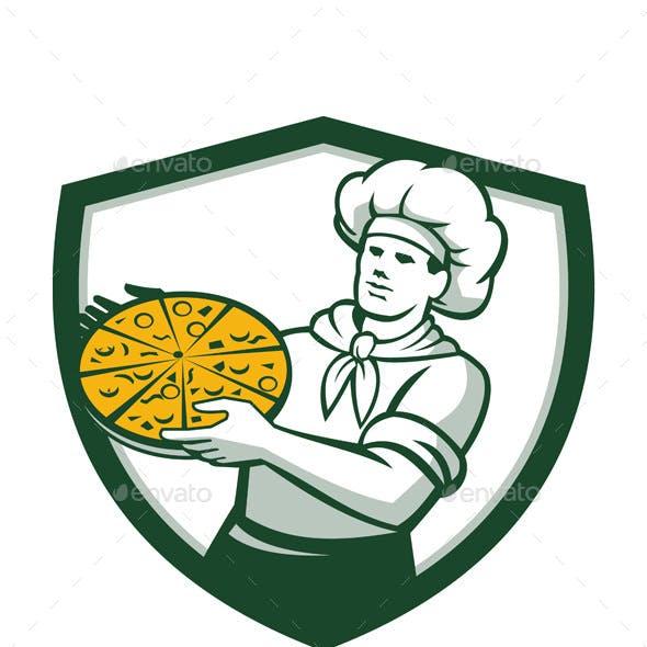 Pizza Chef Holding Pizza Retro Shield