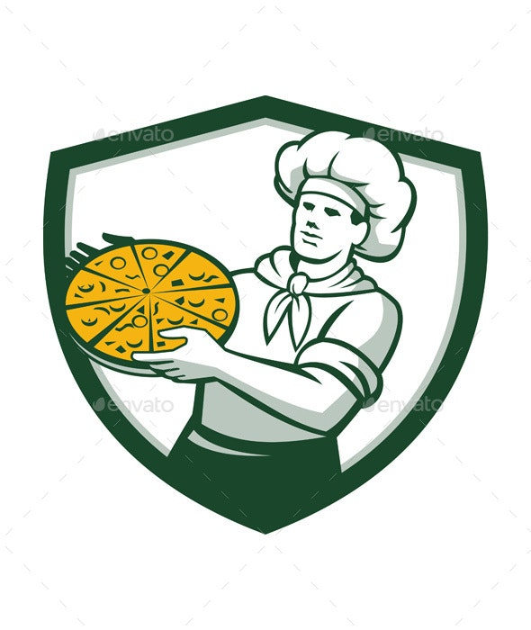 Pizza Chef Holding Pizza Retro Shield  - People Characters