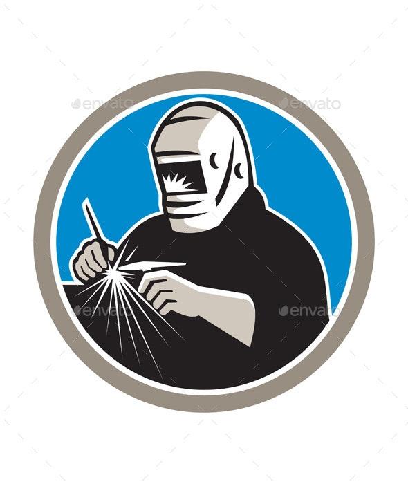 Retro Tig Welder Welding Circle  - People Characters