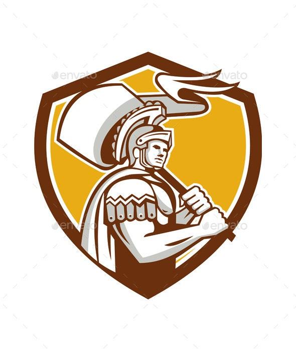 Roman Centurion Carry Flag Crest Retro - People Characters