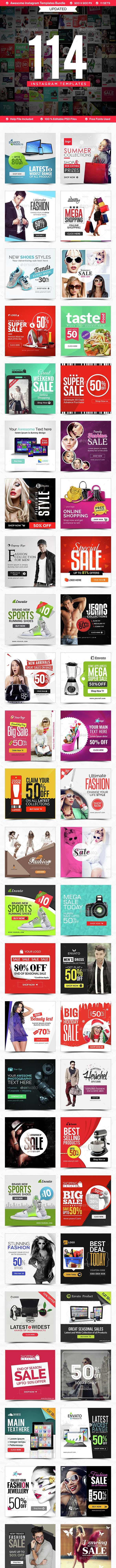 Instagram Templates Bundle - 114 Designs - UPDATED! - Social Media Web Elements