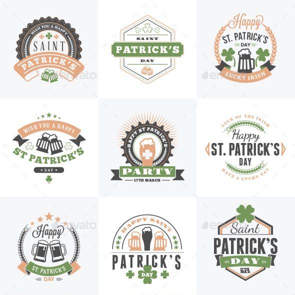 Set of St. Patrick's Day Badges