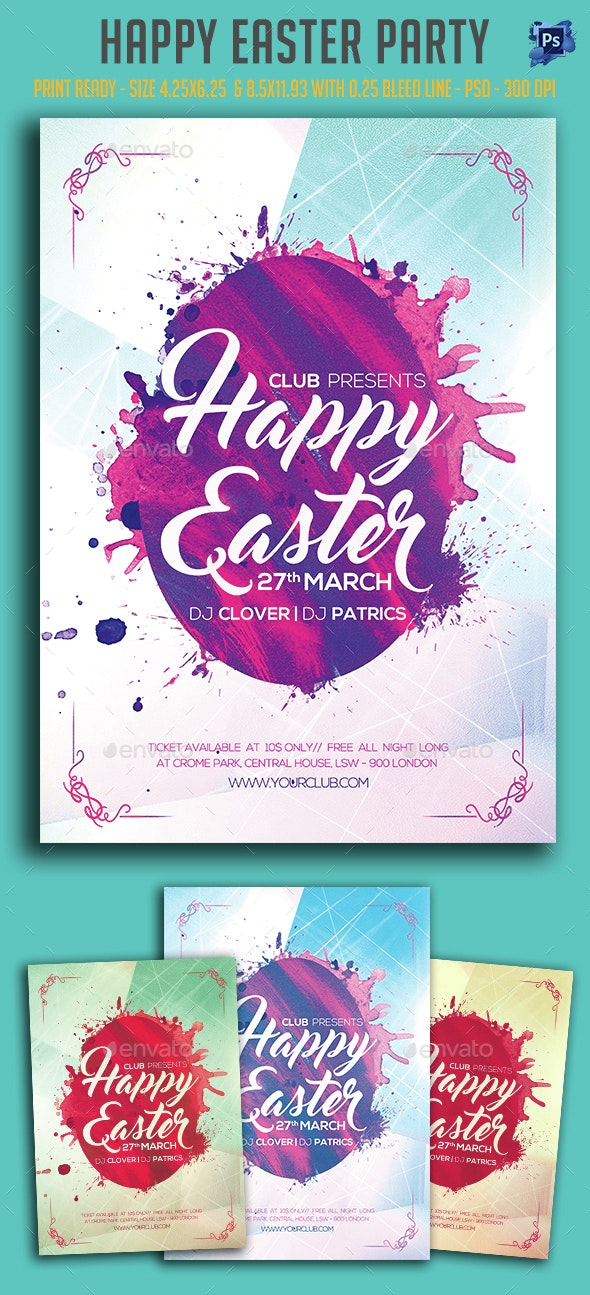 Happy Easter Party Flyer  - Clubs & Parties Events