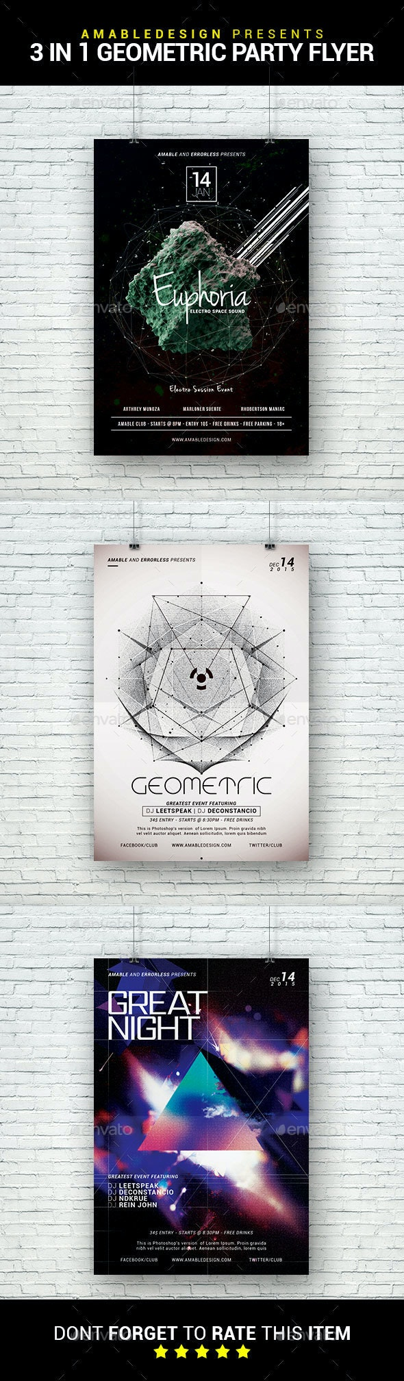 3 in 1 Geometric Party Flyer/Poster Bundle - Clubs & Parties Events