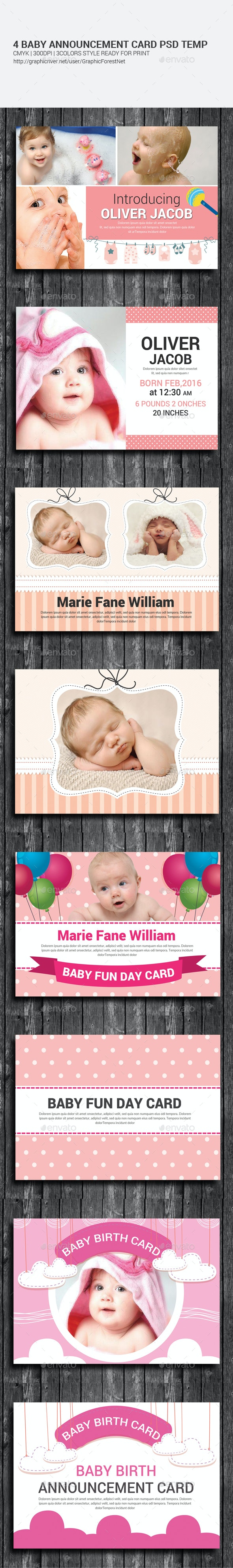 4 Baby Announcement and Birthday Cards Invites - Cards & Invites Print Templates