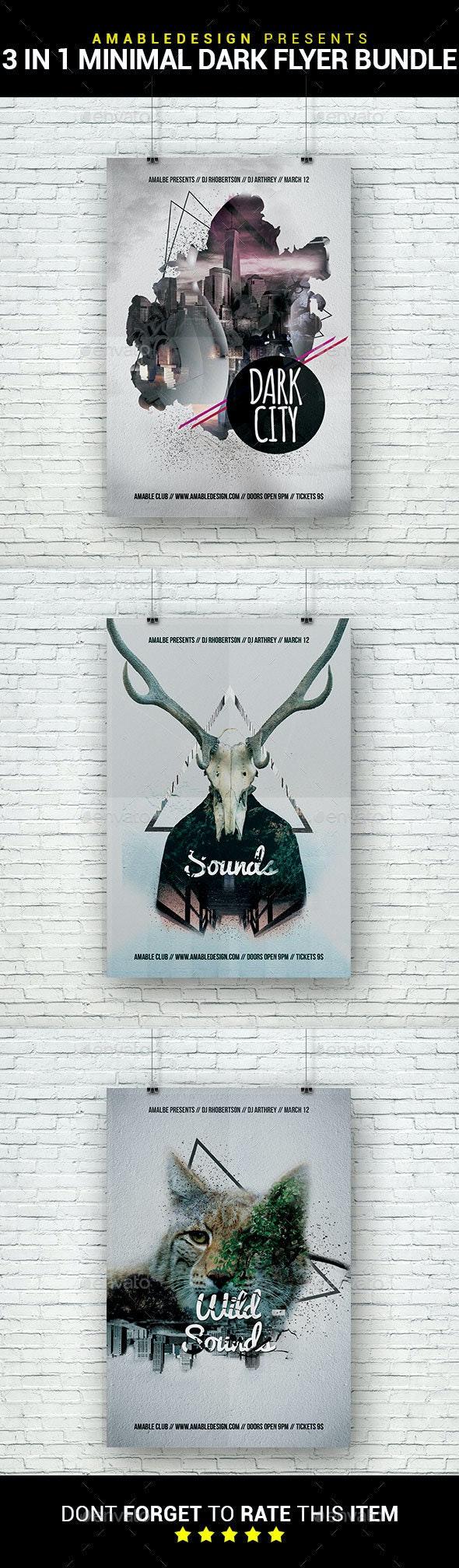 3 in 1 Minimal Dark Flyer/Poster Bundle - Clubs & Parties Events