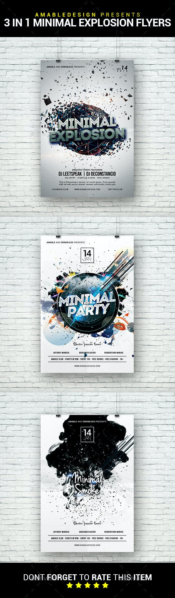 3 in 1 Minimal Explosion Party Flyer/Poster Bundle - Clubs & Parties Events