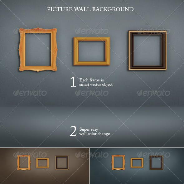 Wall and Floor Background with Picture Frames