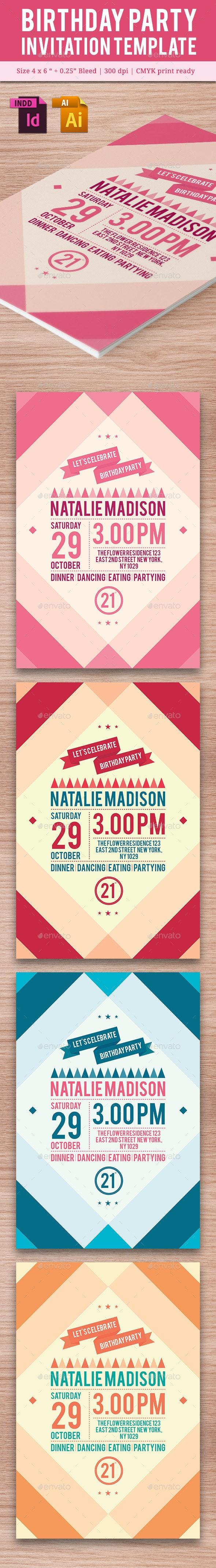 Birthday Party Invitation Template - Vol . 11 - Cards & Invites Print Templates
