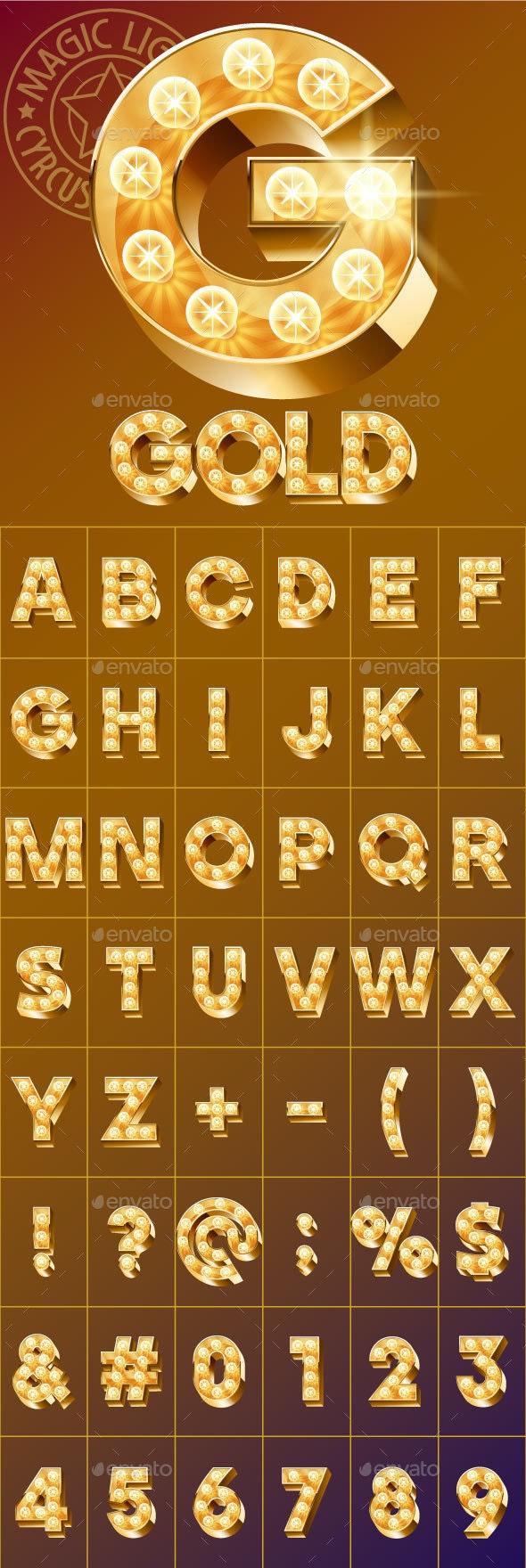 Fantastic Golden Vector Light Up Font - Decorative Symbols Decorative