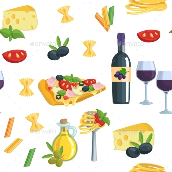 Seamless Cartoon Flat Background With Italian Food - Food Objects