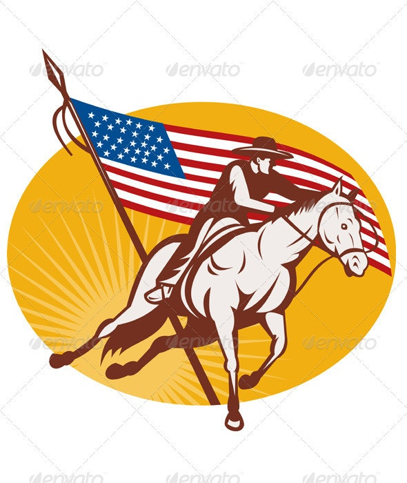 American Rodeo Cowboy Horse Cutting - Animals Characters