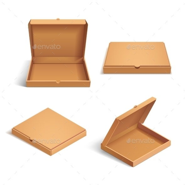 Realistic 3d Isometric Pizza Cardboard Box - Objects Vectors