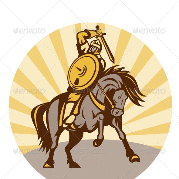 Viking Warrior Riding Horse With Sword