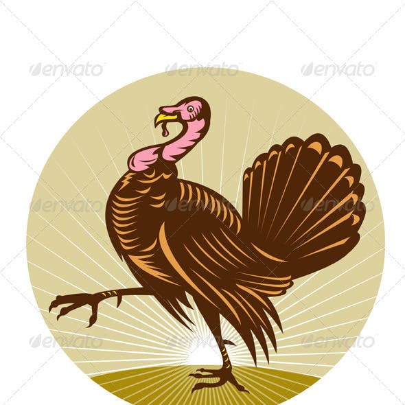Wild Turkey Marching Woodcut Style