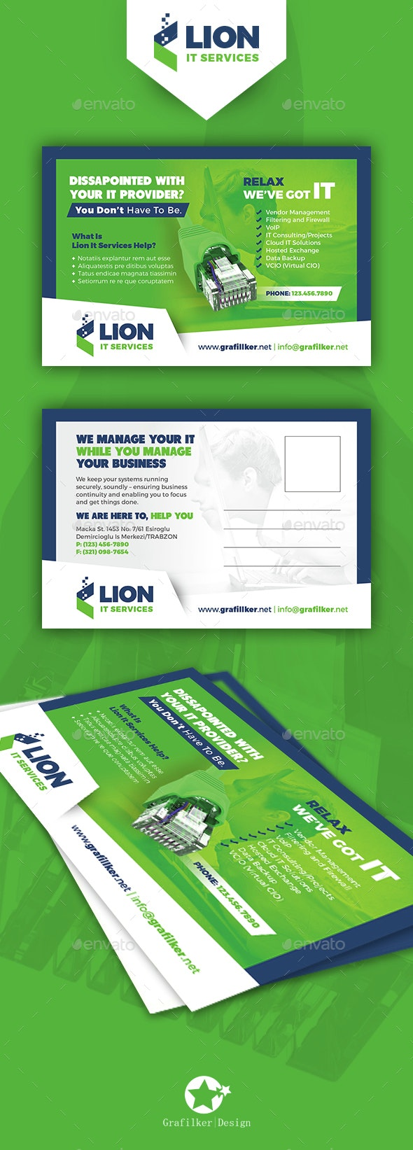 IT Service Postcard Templates - Cards & Invites Print Templates
