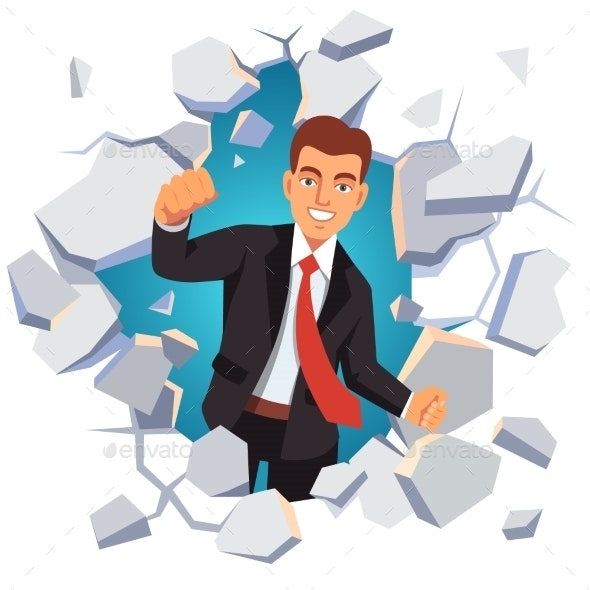 Business Man Breaking Through White Concrete Wall - Concepts Business