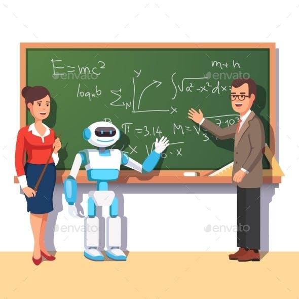 Modern Robot Helping Teachers