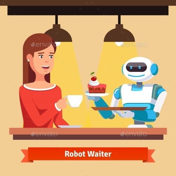 Robot Waiter Serving Coffee and Cake - Miscellaneous Characters