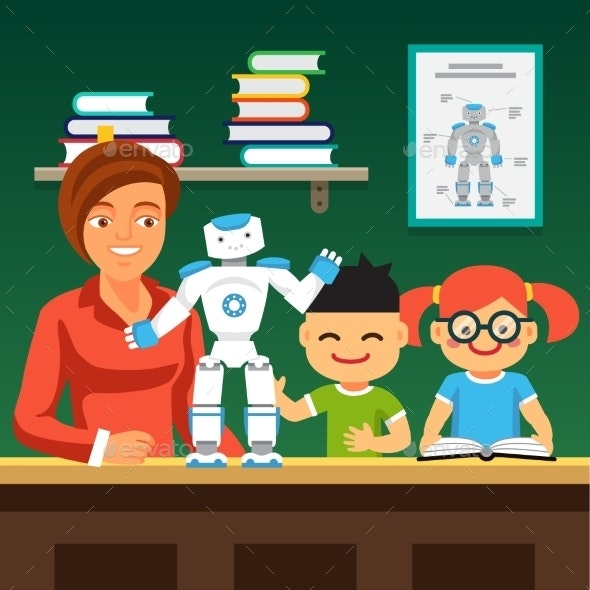 Students Learning Robotics with Teacher and Robot - Miscellaneous Characters