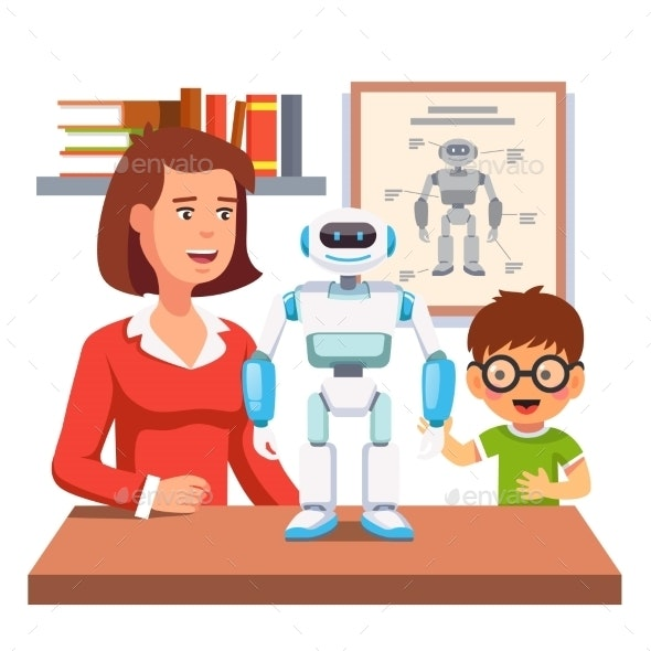 Student Learning Robotics with Teacher and Robot - Miscellaneous Characters
