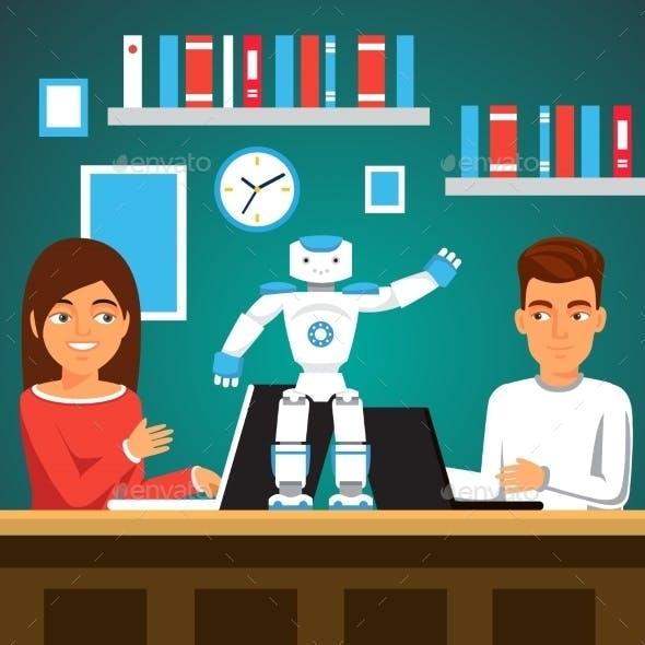 Students Programming Humanoid Bipedal Robot