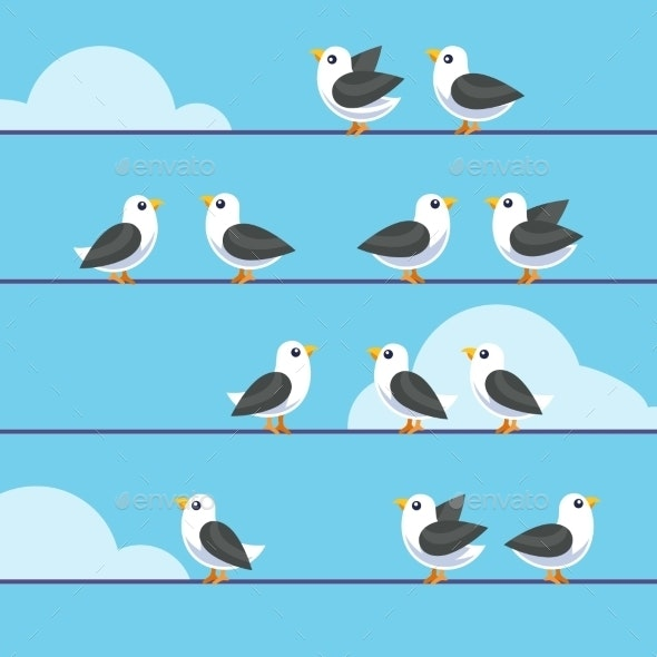 Flock of Birds Sitting on Wires - Animals Characters
