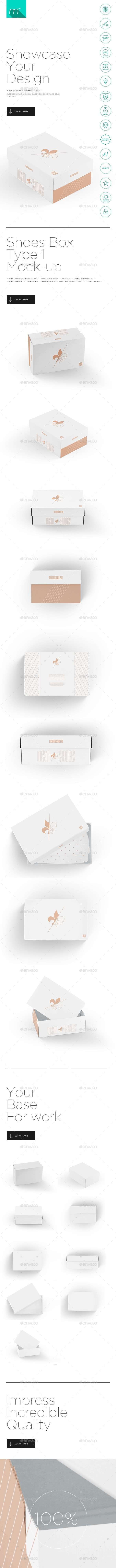 Shoes Box Type 1 Mock-up - Product Mock-Ups Graphics