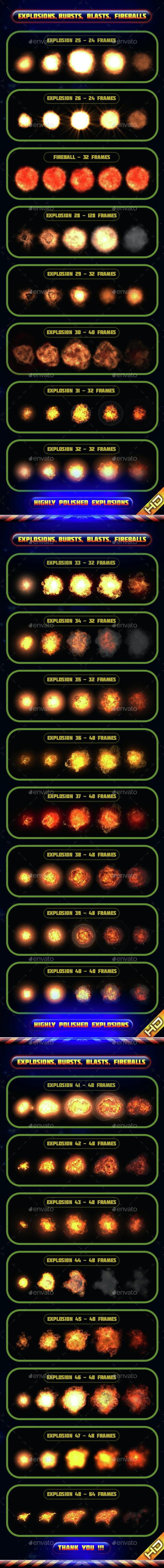Explosions Blasts Bursts Detonations MEGA PACK 02 - Sprites Game Assets