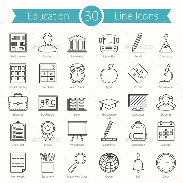 30 Education Line Icons - Miscellaneous Icons