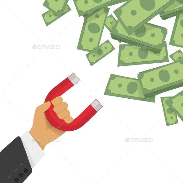 Money Magnet Vector Illustration - Concepts Business
