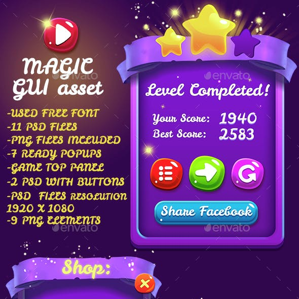 Magical 9 PNG Game Interface Set Part 2