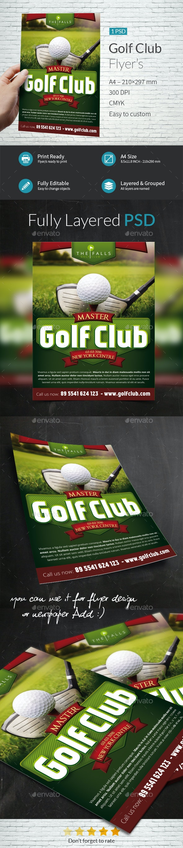 Golf Club A4 Flyer Template - Flyers Print Templates