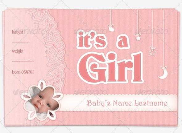 Baby Girl Announcement Postcard - Family Cards & Invites