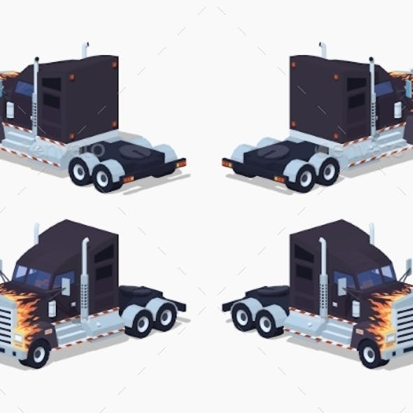 Black Heavy American Truck with a Fire Pattern