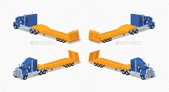 Blue Heavy Truck with Yellow Low-Bed Trailer - Man-made Objects Objects