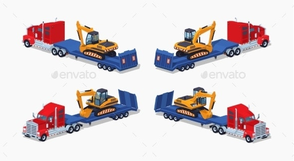 Red Heavy Truck with Yellow Excavator - Man-made Objects Objects