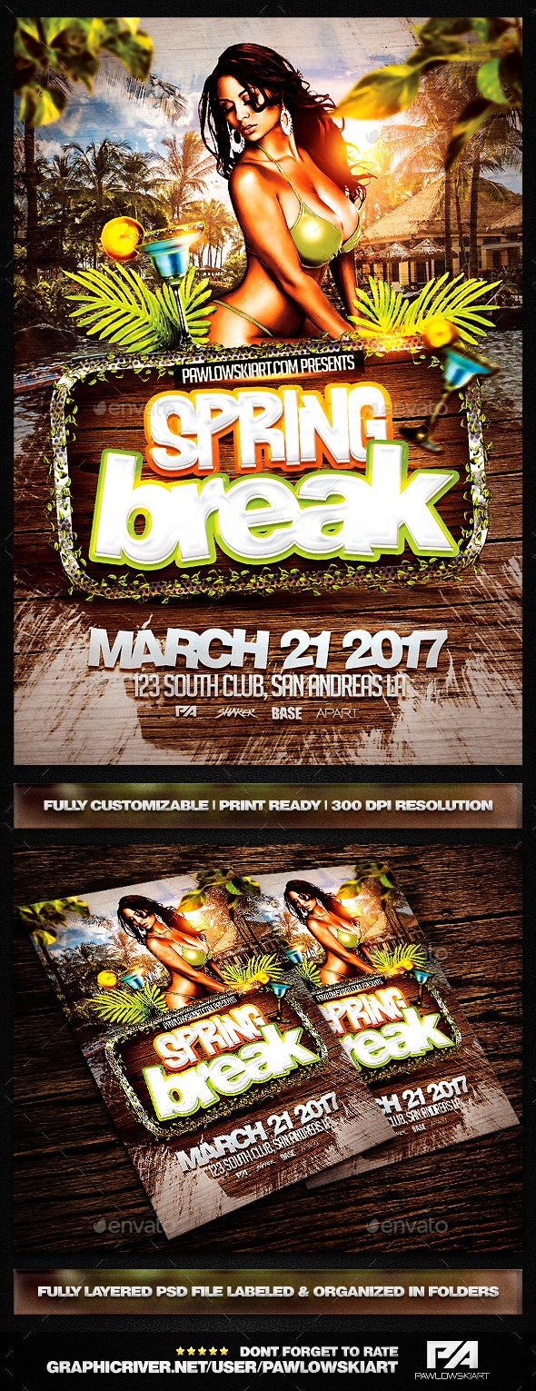 Spring Break PSD Flyer Template - Clubs & Parties Events